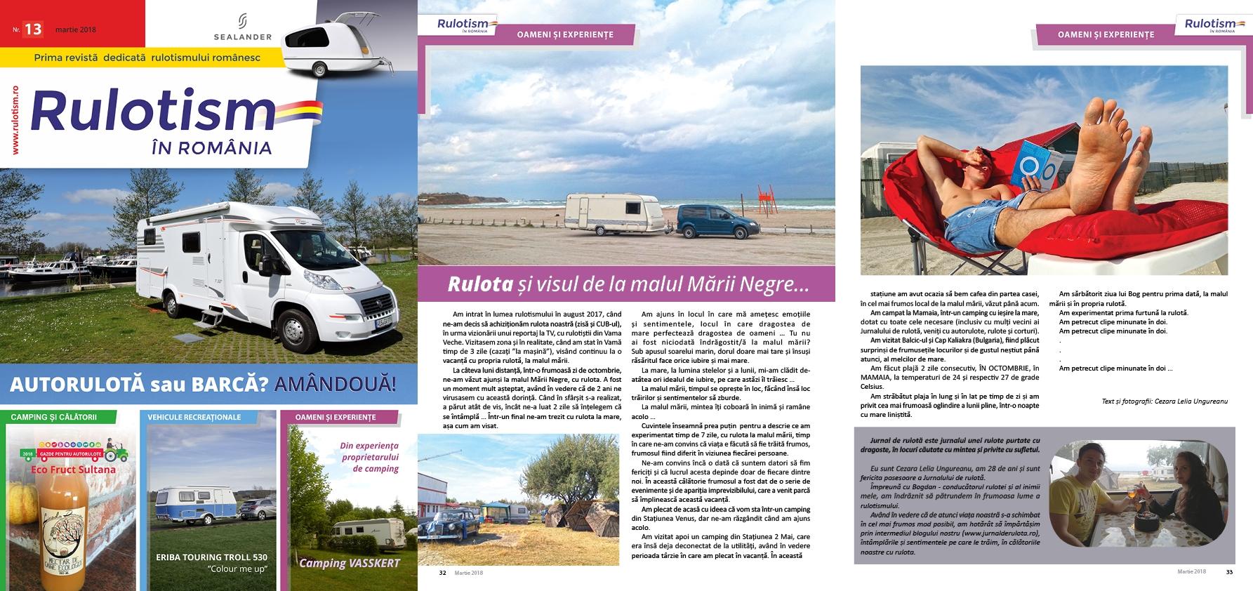 Articol din jurnal, publicat in revista Rulotism in Romania, dedicata Salonului Nautic Bucuresti 2018